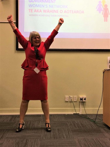 Carol Mitchell shows off her power pose