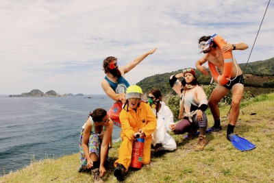 A group of climate change activists on Raoul Island
